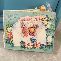 """🐦Quimby's Closet🐦 on Instagram: """"🌷It's ready! 🌷My latest, vintage greeting card junk journal will be avail here on IG tomorrow evening! 🌷Swipe for a few more peeks! Full…"""" Junk Journal, Journal Ideas, Vintage Greeting Cards, Decorative Boxes, Albums, Floral, Journals, Closet, Inspiration"""