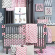 Swizzle Pink 4 Piece Baby Crib Bedding Set by Sweet Potato #SweetPotato