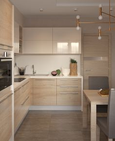 I like the use of glossy, smooth uppers, open wood shelf and wood lowers. Find the handles complementary and not too busy. Overall, the wood grain I find too light and over used in this space. Kitchen Room Design, Luxury Kitchen Design, Kitchen Cabinet Design, Kitchen Layout, Home Decor Kitchen, Interior Design Kitchen, Kitchen Furniture, Home Kitchens, Tuscan Kitchens
