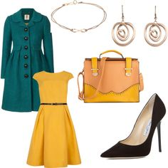 """green and yellow, winter"" by royalfashions on Polyvore"