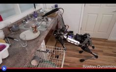 Ultime da Boston: un cane robotico che lava i piatti Il nuovo robot della Boston Dynamics è veramente qualche cosa di speciale. Silenzioso, zampe di gallina, piccoli piedi gommati e un collo d'anatra, con all'estremità una bocca degna di un piccolo din #robot #bostondynamics #darpa