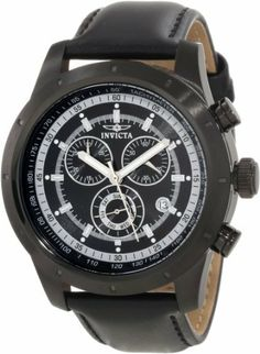 Invicta Men's 10691 Specialty Chronograph Black Dial Watch Invicta. $99.99. Black dial with silver tone hands and hour markers; luminous; tachymeter scale on inner bezel. Swiss quartz movement. Flame-fusion crystal; black ion-plated stainless steel case; black leather strap. Water-resistant to 100 M (330 feet). Chronograph functions with 60 second, 30 minute and day of the week subdials; date function at 4:00