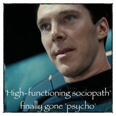 High-functioning sociopath gone psycho... Sherlock... Benedict Cumberbatch... Star Trek into the darkness