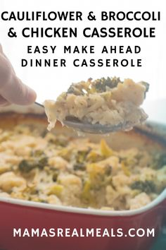 This broccoli and cauliflower casserole is a quick and easy make ahead dinner casserole you can make for a weeknight dinner or a potluck. Broccoli Chicken Casserole Easy, Cauliflower Casserole, Broccoli Cauliflower, Vegetable Casserole, Budget Freezer Meals, Frugal Meals, Easy Meals, Inexpensive Meals, Clean Eating Chicken