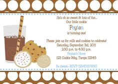 Milk and Cookies Invitations for Boys and Girls by CustomParty4U, $20.00