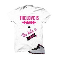 Jordan 10 Gs Vivid Pink White T Shirt (Love Is Fake)