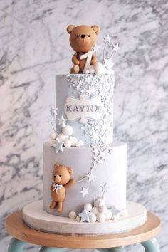 Boys First Birthday Cake, Baby Birthday Cakes, Baby Boy Cakes, Baby Shower Cakes, Teddy Bear Birthday Cake, Teddy Bear Cakes, Teddy Bear Baby Shower, Inspire, Sweet