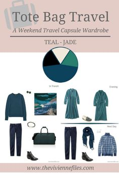 A weekend travel capsule wardrobe in a jade and teal color palette
