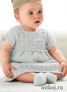 Платье спицами для девочки и пинетки