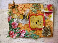 Mixed Media Mail Art with fabric bees
