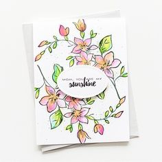 We love the way Aga(@made_by_aga) stamped the flower flourish to create the background. So delicate and beautiful! Her watercoloring is  amazing, too! #AltenewBestMom #altenew #AltenewCardDrive