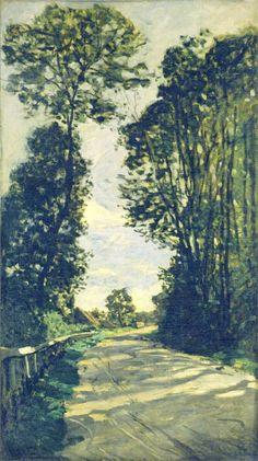 Monet style is clear at this painting ! Road to the Saint-Simeon Farm - Claude Monet Camille Pissarro, Claude Monet, Pierre Auguste Renoir, Monet Paintings, Landscape Paintings, The Saint, Artist Monet, Impressionist Paintings, Impressionist Landscape