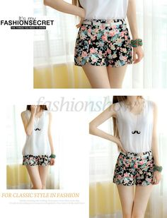 New 2014 Summer Shorts Women Fashion Flower Pattern Floral Elastic High Waist Mini Trouser Girls Short Pants b7 SV001591