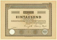 HWPH AG - Historische Wertpapiere - Süddeutsche Zucker-AG / Mannheim, Januar 1960, Blankett einer Aktie über 1.000 DM, o. Nr