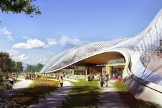 Google's Futuristic New HQ Has Buildings That MOVE #refinery29  http://www.refinery29.com/2015/03/83199/new-google-headquarters#slide-6  This canopy lifts up, making room for a running track that goes through the building.