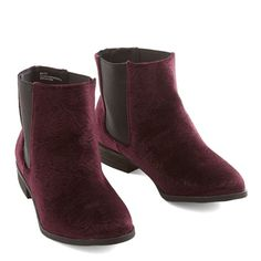 dbf4455eb3e Burgundy velvet booties Gorgeous velvet boots from modcloth. In great  condition