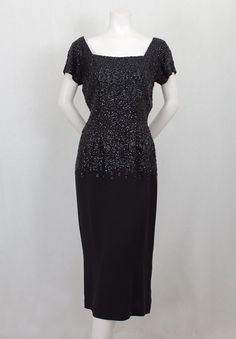 Frank Starr sequined evening dress, 1950s - I love square necklines.