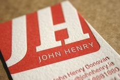 John Henry called on blush to print his business cards. After seeing John's artwork we recommended the business cards were printed on Saunders 425gsm paper. A beautiful soft white cotton paper heavier than the average business card but not too thick to take up too much room in his wallet!