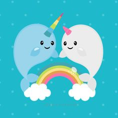 Check out our narwhal clipart selection for the very best in unique or custom, handmade pieces from our shops. Cute Narwhal, Unicorn Party, Oeuvre D'art, Cute Drawings, Art Images, Painted Rocks, Original Artwork, Cute Animals, Doodles