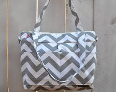 Fun and Girly Camera Bag DSLR / Purse with  removable insert  / cool SLR Camera Purse for Women  in Grey Chevron Stripe / by Darby Mack