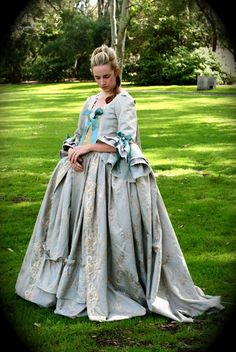 Romantic Rococo Marie Antoinette Colonial Wedding or Ball Gown  - Robe a la Francaise, or Sack Back Gown