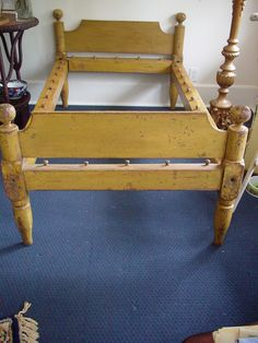MUSTARD PAINT ROPE BED, C.1800'S, ORIGINAL paint 70x40