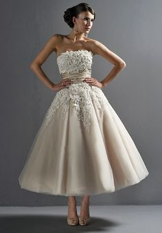 different wedding dress idea - love the length, it's very playful. elegant and retro. love the color.