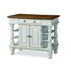 Home Styles Americana Kitchen Island in Distressed White with Oak Top-5094-94…