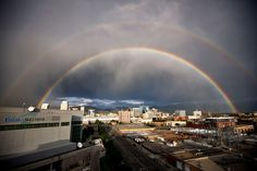 Double rainbow over downtown