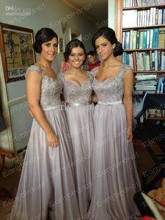 Wholesale Bridesmaid Dress - Buy 2014 Hot Cheap Bridesmaid Dresses Sexy V Neck Cap Sleeve Applique Chiffon A Line Long Evening Gowns Vestidos Formales, $105.5 | DHgate