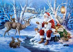 Serendipity Jigsaw Puzzles - Snack Time With Santa Cowboy Christmas, Father Christmas, Vintage Christmas Cards, Santa Christmas, Rustic Christmas, Winter Christmas, Christmas Holidays, Christmas Crafts, Christmas Decorations
