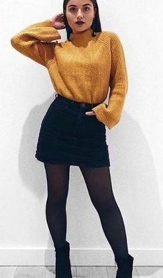 Fashion - Elegant Winter Fashion Outfits For Ladies Women's yellow turtle-neck sweater and black high-waist mini skirt.Women's yellow turtle-neck sweater and black high-waist mini skirt. Trend Fashion, Winter Fashion Outfits, Fall Winter Outfits, Look Fashion, Skirt Fashion, Autumn Fashion, Fall Outfits 2018, Plaid Fashion, Fashion Black