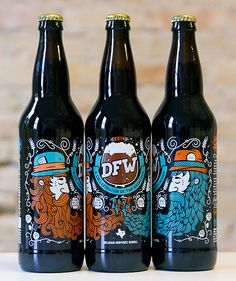 DFW, a collaboration between Lakewood Brewery and Rahr & Sons Brewing. Designed by All The Pretty Colors. via Oh Beautiful BeerDFW, a collaboration between Lakewood Brewery and Rahr & Sons Brewing. Designed by All The Pretty Colors. via Oh Beautiful Beer Craft Beer Brands, Craft Beer Labels, Wine Labels, Bottle Labels, Beverage Packaging, Bottle Packaging, Food Packaging, Coffee Packaging, Product Packaging