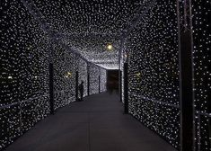 A starry night tunnel! Light Tunnel, Starry Lights, Night Circus, In This Moment, Black And White, Total Black, White Art, Black Silk, Modern