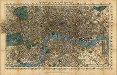 Giant Historic London England 1860 Restoration Hardware Style Wall Street Map fine art print