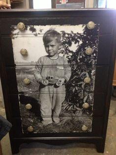 A very creatively decoupaged photo print dresser...
