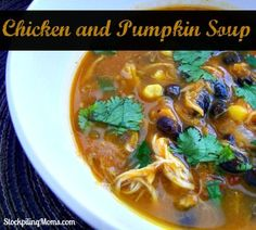 Chicken and Pumpkin Soup is delish! Amazing flavor and taste! Ready in an hour or cook it all day in your slow cooker! Its all at http://greekfood-recipes.com/posts/Chicken-and-Pumpkin-Soup-is-delish-Amazing-flavor-60580