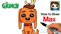 How to Draw Max from The Grinch Easy how - drawingideas_pintous Max From The Grinch, The Grinch Dog, Der Grinch, The Grinch Movie, Kawaii Drawings, Disney Drawings, Cartoon Drawings, Cute Drawings, Draw So Cute Christmas