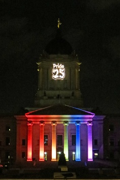 Manitoba, Canada's legislative building, lights up for Pride 2012 - and celebrates the 25th anniversary of passage of legislation that protects the civil rights of GLBT's.