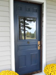 Benjamin Moore Hale Navy is a beautiful exterior door and trim paint color. No strange hues jump out.