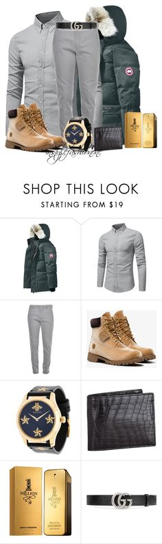 """MY HERO"" by stylish1475 ❤ liked on Polyvore featuring Canada Goose, Dondup, Off-White, Gucci, Zilli and Paco Rabanne"