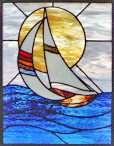 Stained and leaded glass sailboat window