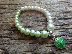 Handmade White and Green Pearl Glass Beads Glamor Bracelet with Lucky Clover charm by EffyBuu on Etsy