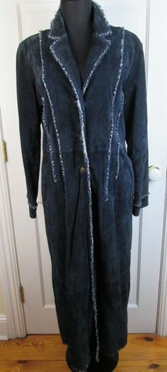 Wilson's Leather Blue Suede Full Length Jacket Women's Coat Size L #WilsonsLeather #BasicCoat