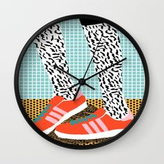 Spiffy - shoes art print memphis design style modern colorful california socal los angeles brooklyn  Wall Clock