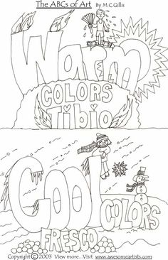 The ABCs of Art- Black & white printable art materials of warm & cool color.