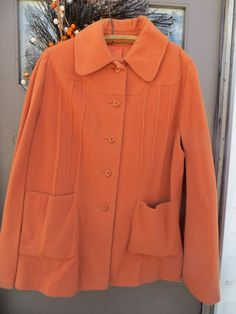 1970S  NEW VINTAGE tangerine  womens  button front   wool