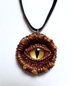 Mystical Bronze dragon eye pendant handmade from by AurorasLocket