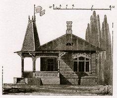 Russian Art Nouveau dacha architectural rendering