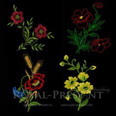 Machine Embroidery Design - Set - Flowers #2, $3.99